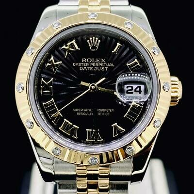 Rolex Lady-Datejust 26MM Black Sun Dial Factory Diamond Bezel Yellow Gold/Steel Watch B&P2007