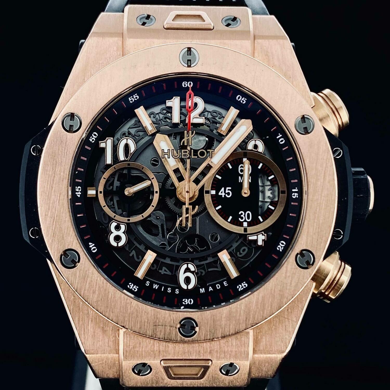 Hublot Big Bang Unico King 18KT Rose Gold Skeleton Chronograph 45MM Flyback Watch - Box Only