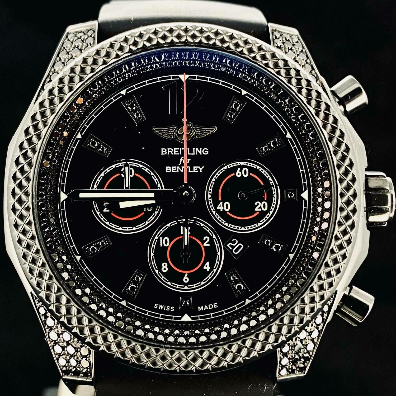 Breitling Bentley Barnato 42MM Midnight Carbon PVD Steel Factory Black Diamond Sett Fullset B&P2013