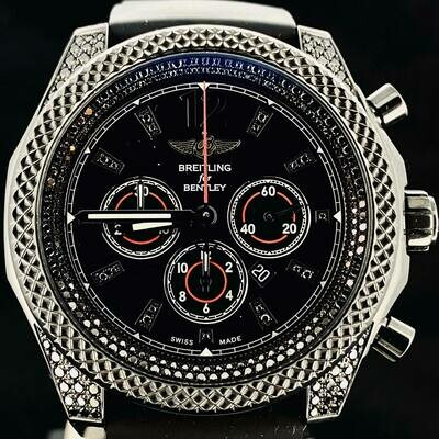Breitling Bentley Barnato 42MM Midnight Carbon PVD Steel Factory Black Diamond Sett Fullset B&P2013
