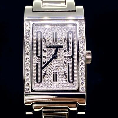 Bulgari Rettangolo Rt W39 G - 18KT White Gold 39MM Factory Diamonds Setting Quartz B&P Fullset