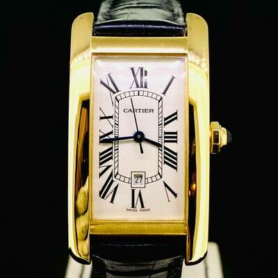 Cartier Tank Americaine 18kt Yellow Gold 22,5X33MM Automatic White Dial B&P2002 Top Condition
