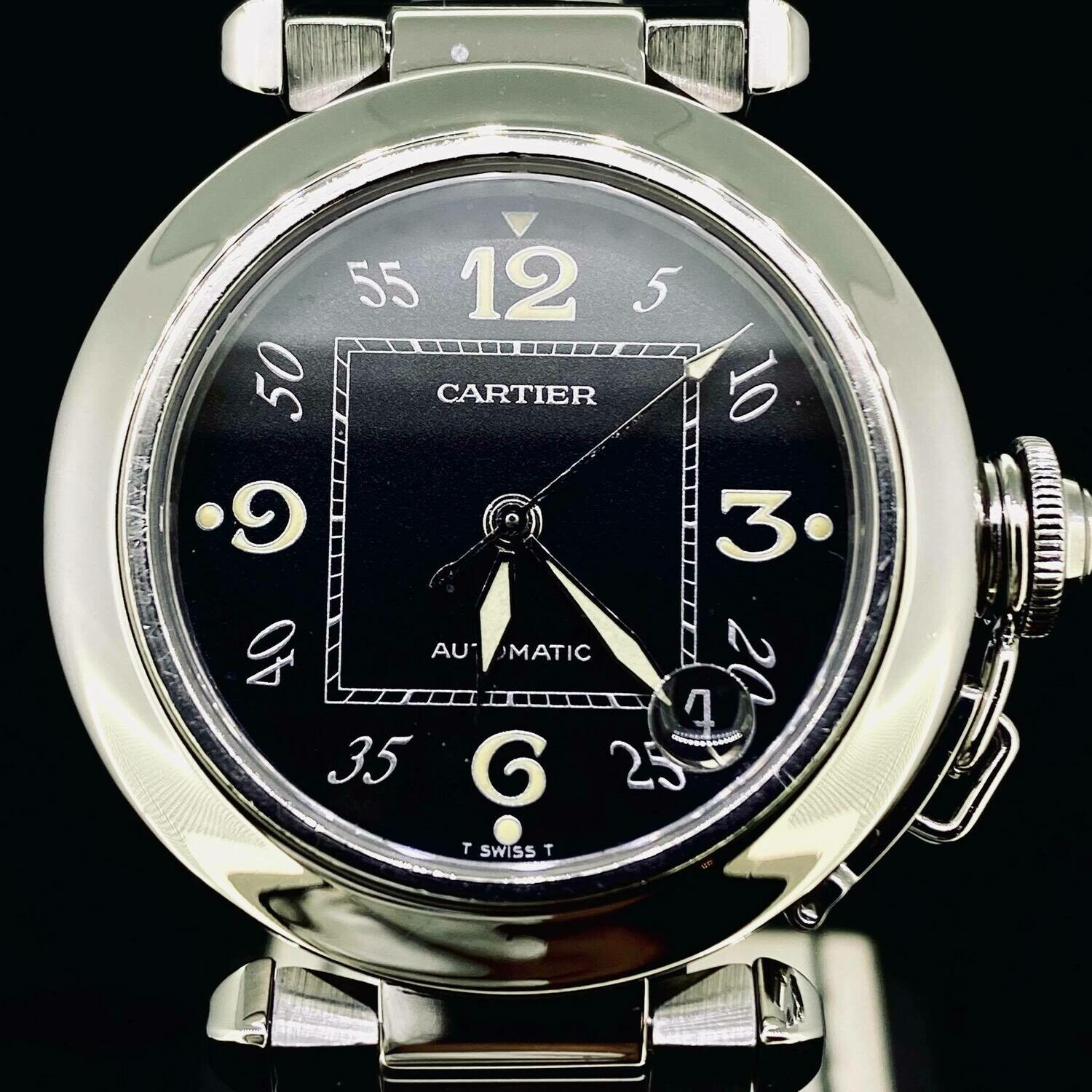 Cartier Pasha C 35MM Steel Black Dial Automatic Watch B&P2005 Very Good Condition
