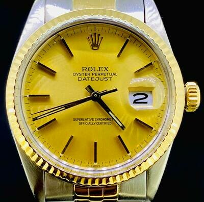 Rolex Datejust 36MM Long Bracelet 18kt Gold/Steel Fullset B&P1983 '7-Mill Series' Golden Dia