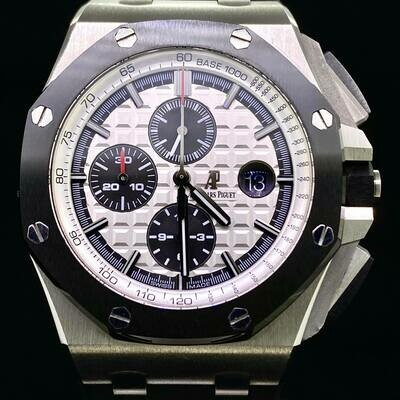 Audemars Piguet Royal Oak Offshore Chronograph 44MM Ceramic/Steel Silve/Panda Dial B&P Fullset 2015 - MINT
