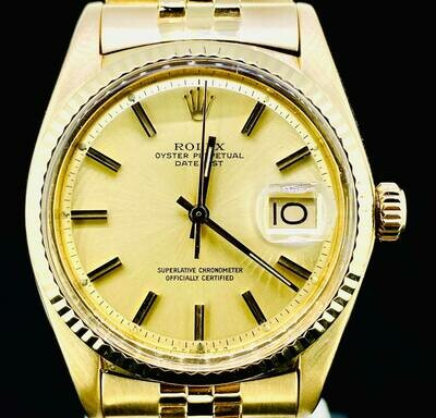 Rolex Datejust 36MM 18kt Yellow Gold Jubilee Fluted Bezel Gold/Champagne Dial Fullset B&P1975