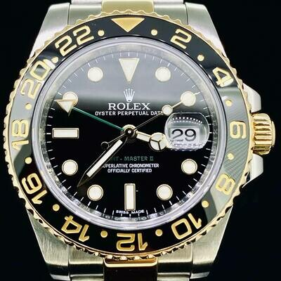 Rolex GMT-Master II Gold/Steel Black Ceramic Black Dial Oyster Bracelet 40MM B&P2015 New Card