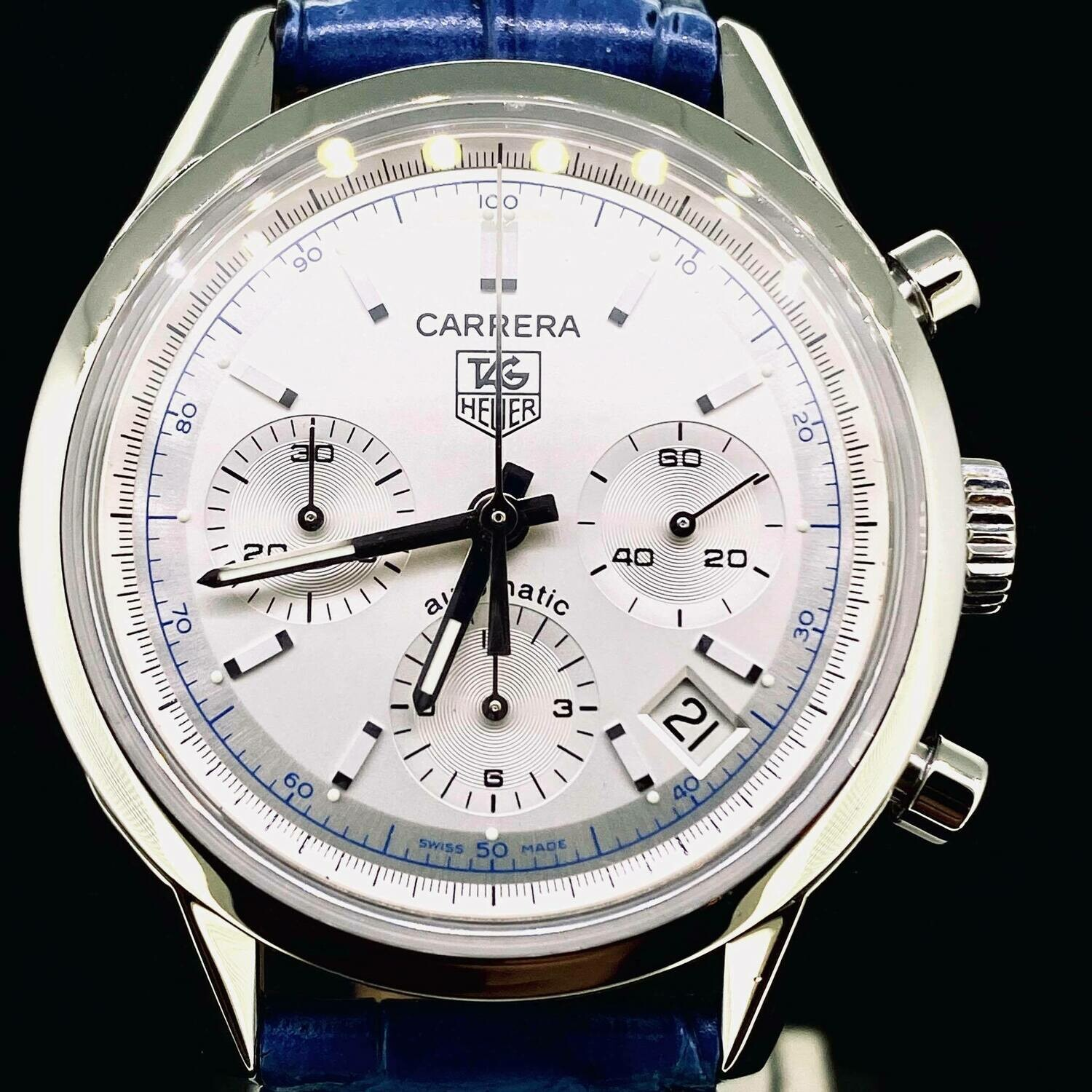 TAG Heuer Carrera Re-Edition Chronograph 39MM Steel Automatic Watch Fullset B&P Very Good Condition