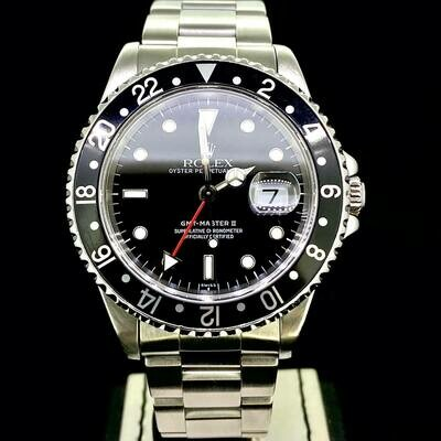 Rolex GMT-Master II 40MM Steel Black Dial & Bezel '16710' '1999 Swiss Only' Box - Mint Condition