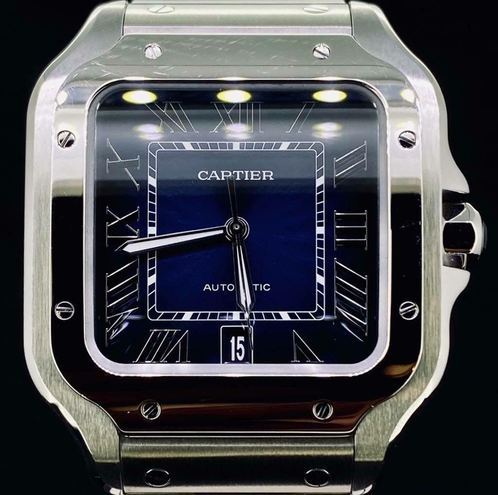 Cartier Santos XL 39,8MM Steel Blue Dial B&P FULLSET 2020 Very Good Condition