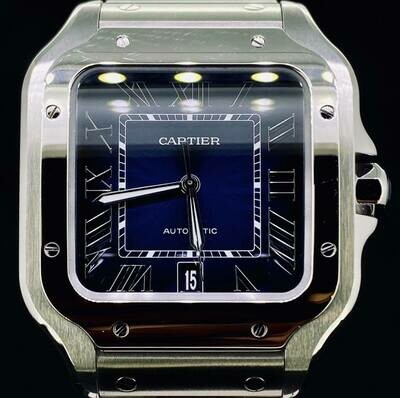 Cartier Santos XL 39,8MM Steel Blue Dial B&P FULLSET 2020 Very Good Condition
