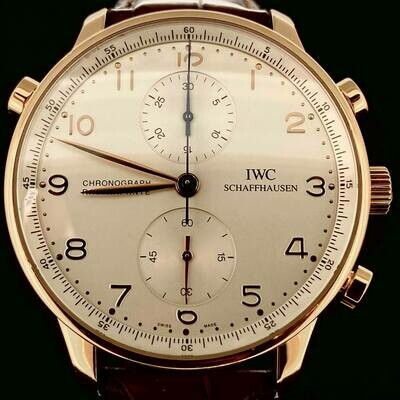 IWC Portuguese Rattrapante Chronograph 18KT Rose Gold 41MM Silver Dial Split Second Fullset'08