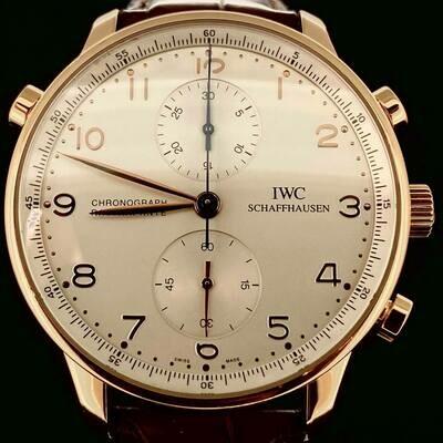 IWC Portuguese Rattrapante Chronograph 18KT Rose Gold 41MM Silver Dial Split Second Fullset'08