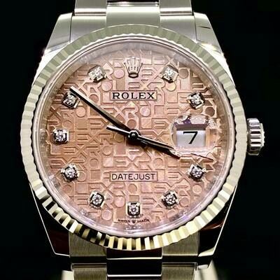 Rolex Datejust 36MM White Gold Bezel/Steel Pink Jubilee Diamond Dial Oyster B&P2020 UNWORN