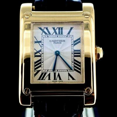 Cartier Tank a Vis 18KT Yellow Gold Collector Item Manual Winding B&P Fullset 2004 MINT Condition