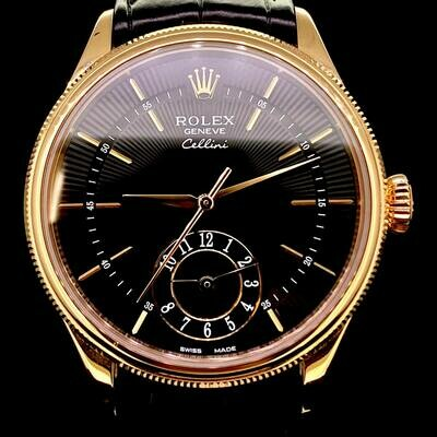 Rolex Cellini Dual Time 18kt Rose Gold Black Dial 39MM Watch / Leather Strap Full B&P2016 - MINT
