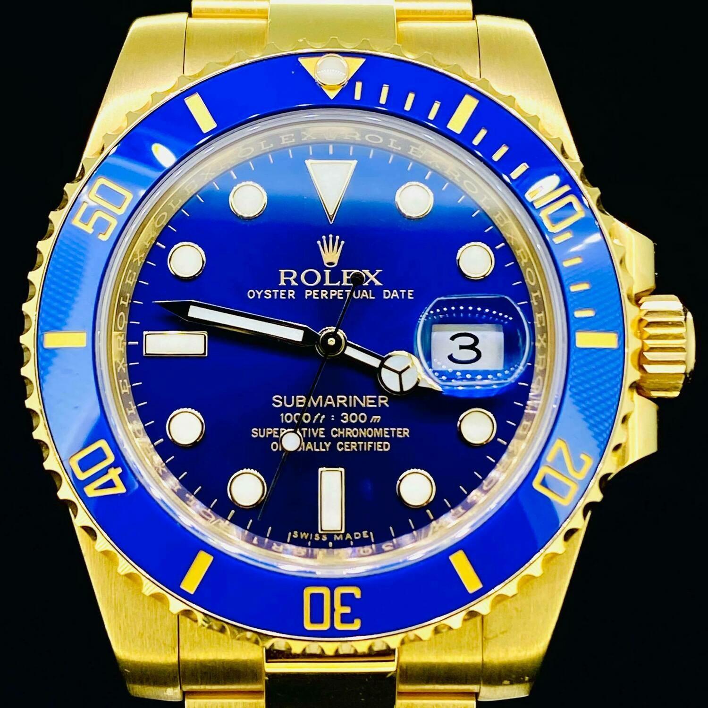 Rolex Submariner Date 40MM 18kt Yellow Gold Ceramic Blue Dial&Bezel B&P17 Discontinued - MINT