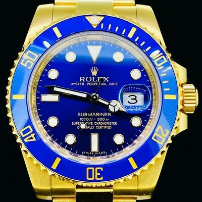 Rolex Submariner Date 40MM 18kt Yellow Gold Ceramic Blue Dial&Bezel B&P17 Discontinued - MINT