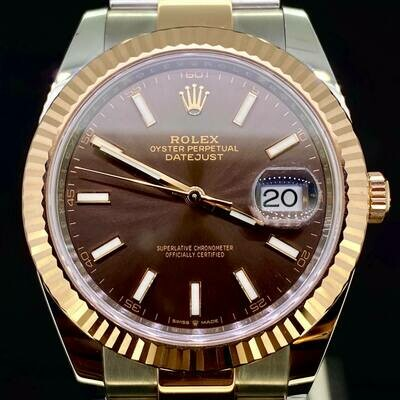 Rolex Datejust II 41MM Rose Gold/Steel Chocolate Brown Dial B&P2020 99% Unworn