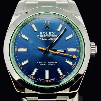 Rolex Milgauss Black Dial Green/Orange Steel 40MM Watch B&P2012 Very Good Condition