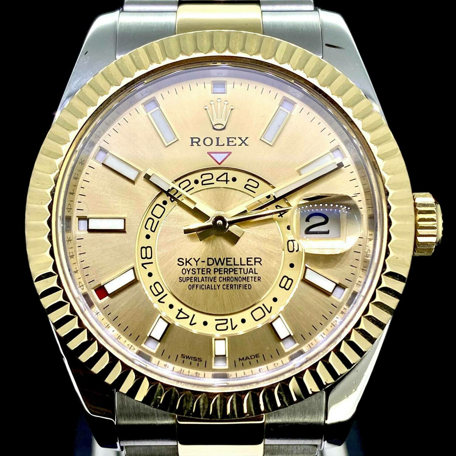 Rolex Sky-Dweller 42MM Yellow Gold/Steel Watch Champange Dial Very Mint Condition Box Only