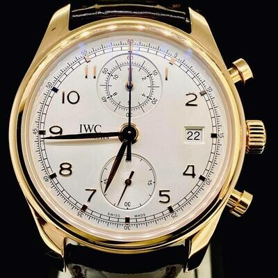 IWC Chronograph Classic Portuguese Silver Dial 42MM 18KT Rose Gold Mint Complete Fullset MINT