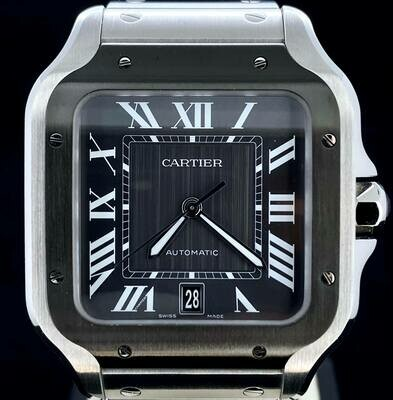 Cartier Santos De Large Automatic Grey Dial Men's Watch Steel / ADLC Black Bezel B&P Unworn 2020