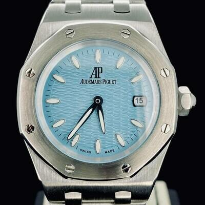 Audemars Piguet Royal Oak 33MM Steel Lady's Watch Ice Blue Wave Dial Quartz with Box - New-Like Condition