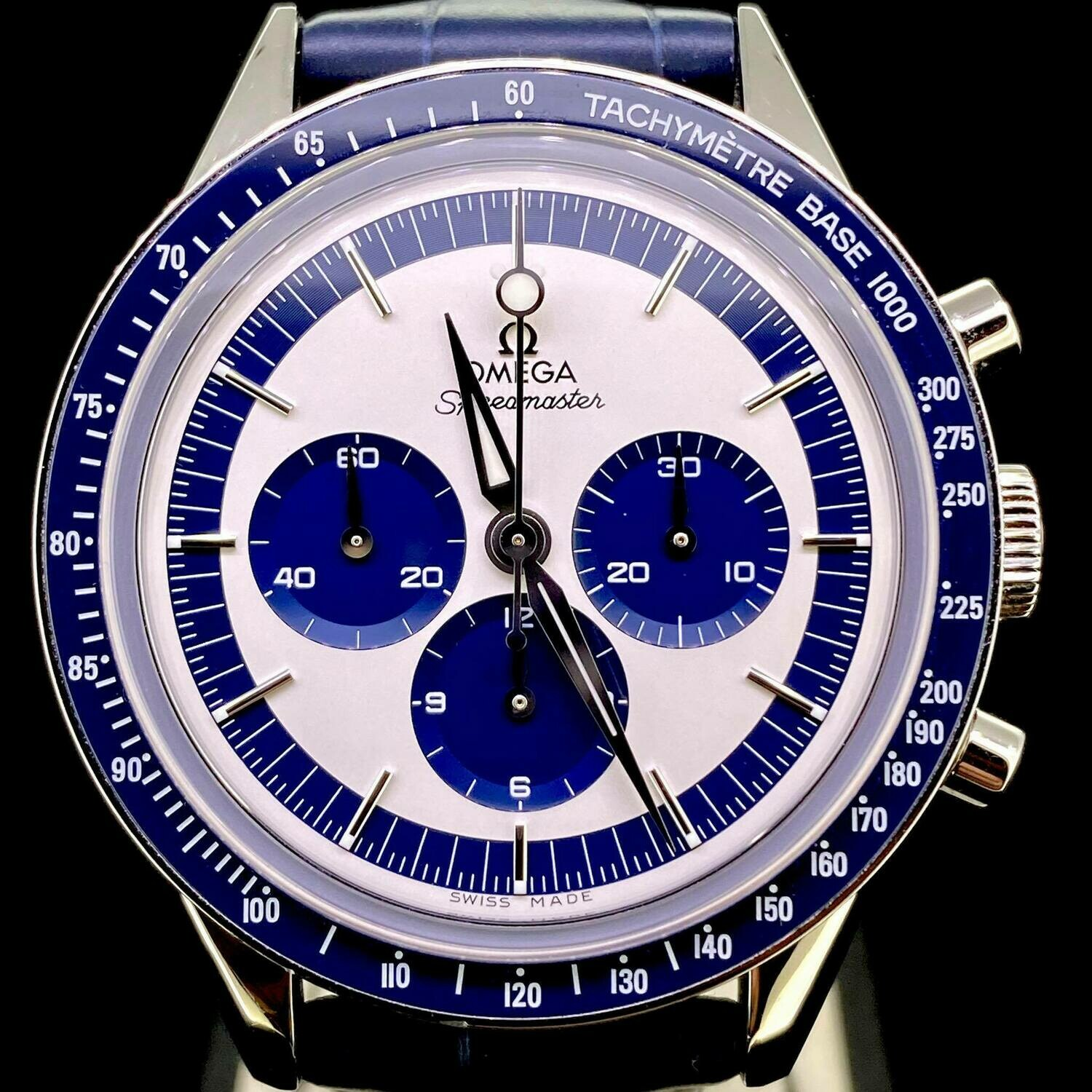 Omega Speedmaster Moonwatch Ck2998 Chronograph Steel 40MM Limited Edition Blue/White Dial MINT
