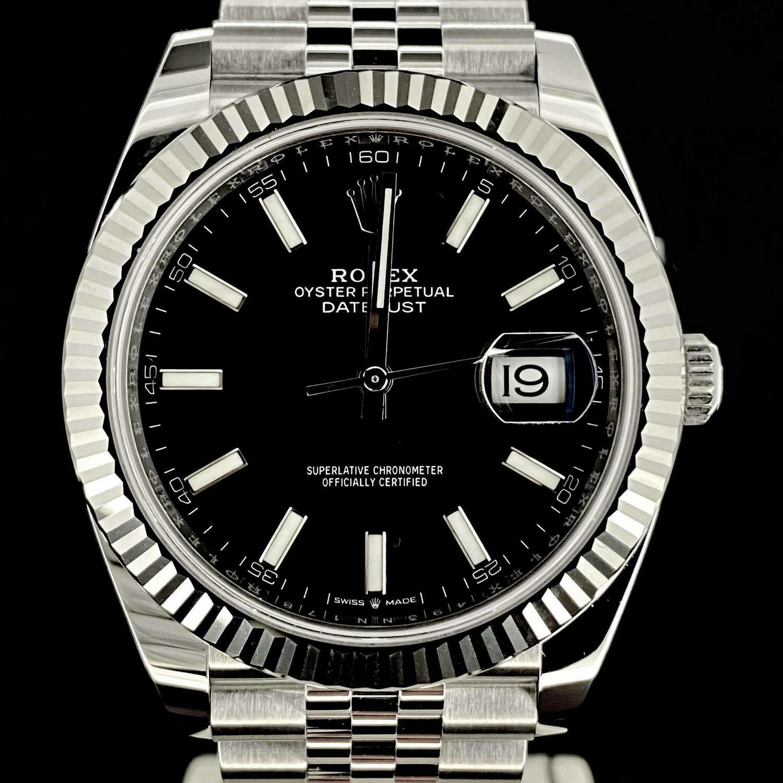 Rolex Datejust II 41MM Black Stick Dial White Gold Bezel/Steel Jubilee/Fluted B&P2020 Unworn