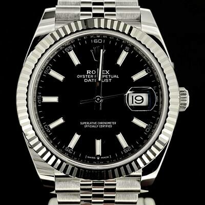 Rolex Datejust II 41MM Black Stick Dial White Gold Bezel/Steel Jubilee/Fluted B&P2020 Unworn