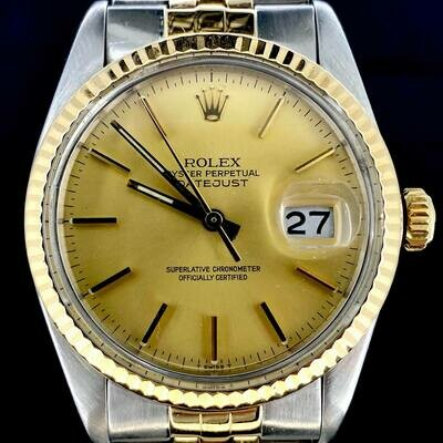 Rolex Datejust 36MM Yellow Gold/Steel Jubilee Fluted Bezel Gold/Champagne Dial B&P1983 WEMPE PAP