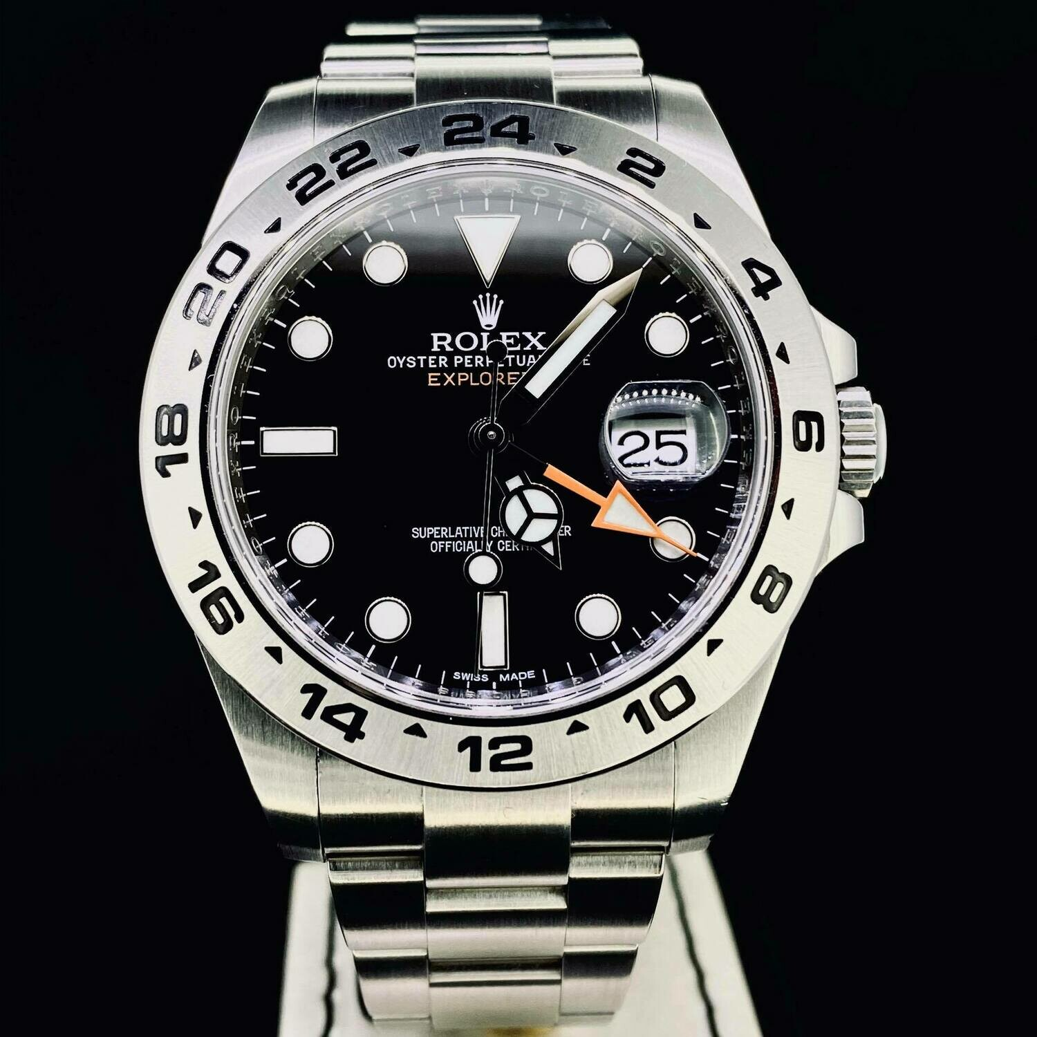 Rolex Explorer II 42MM Steel Black Dial 'Orange Hand' UNPOLISHED B&P2013 Very Good Condition