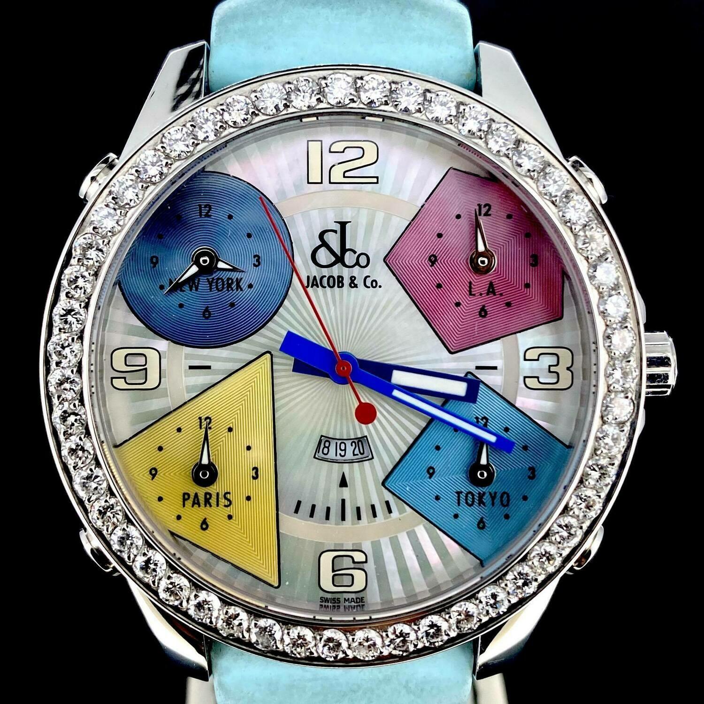 Jacob & Co. Five Time Zone Diamonds Factory Set Bezel MOP Dial 47MM Steel Mint Condition U