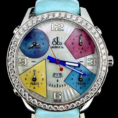 Jacob & Co. Five Time Zone Diamonds Factory Set Bezel MOP Dial 47MM Steel Mint Condition U
