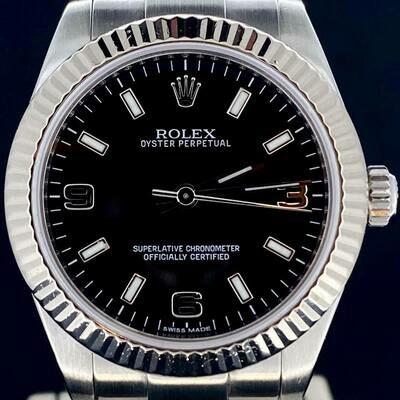 Rolex Oyster Perpetual 31MM Steel / Black Dial / WG Bezel / Oyster Bracelet B&P Mint Condition