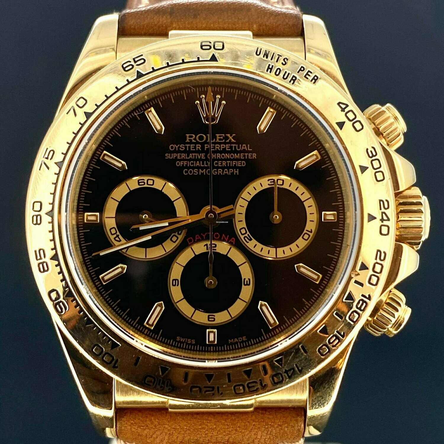 Rolex Daytona Zenith Chronograph Black Dial 40MM 18K Yellow Gold Watch Box Only Mint Condition