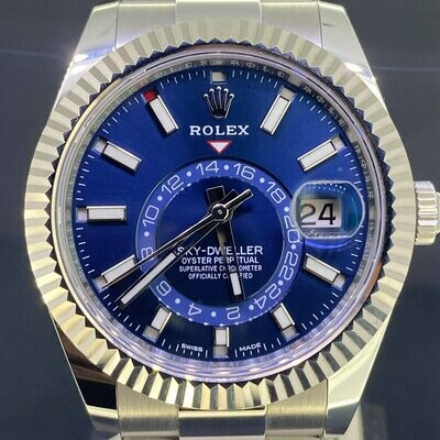 Rolex Sky-Dweller 42MM Steel / WG Bezel / Blue Dial / Nearly Unworn & Unpolished B&P2018 Fullse