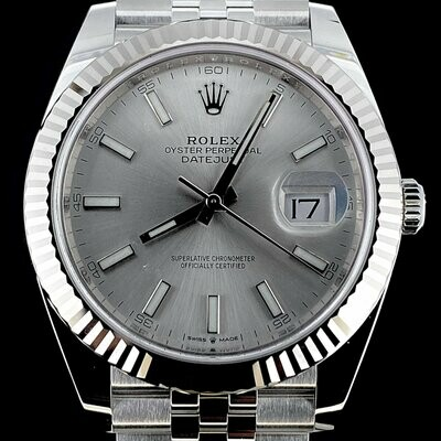Rolex Datejust II 41MM Steel White Gold Bezel Silver Dial Jubilee Bracelet B&P2020 Unworn Full