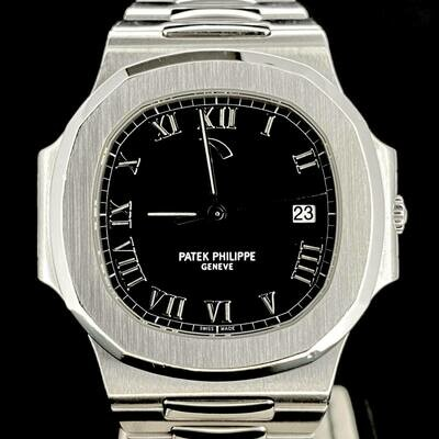Patek Philippe Nautilus Steel 42MM Black Roman Dial Steel Watch Power Reserve Box & Archive Paper Mint