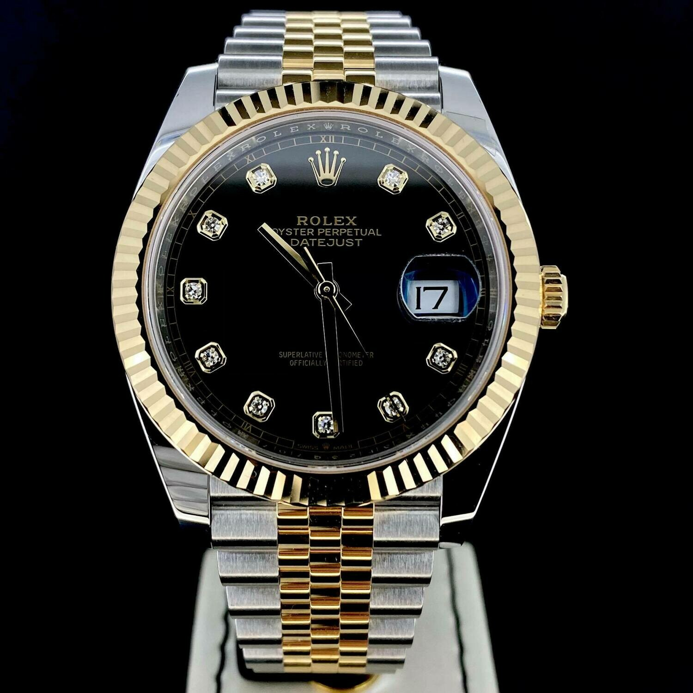 Rolex Datejust II 41MM Yellow Gold/Steel Black Diamond Dial Fluted/Jubilee B&P2020 Unworn