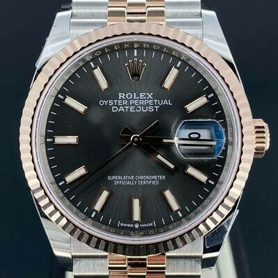 Rolex Datejust 36MM Rhodium Grey Dial Rose Gold/Steel Jubilee / Fluted B&P2020 Unworn