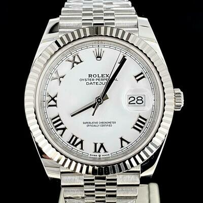 Rolex Datejust II 41MM White Gold Bezel/Steel White Roman Dial Jubilee/Fluted B&P2020 Unworn