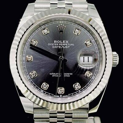 Rolex Datejust II 41MM Steel/White Gold Bezel Grey Diamond Dial Jubilee Bracelet 2020