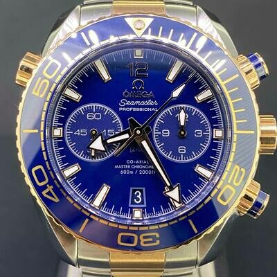 Omega Seamaster Planet Ocean Chronograph 45.5MM Rose/Sedna Gold Steel Blue Dial Ceramic B&