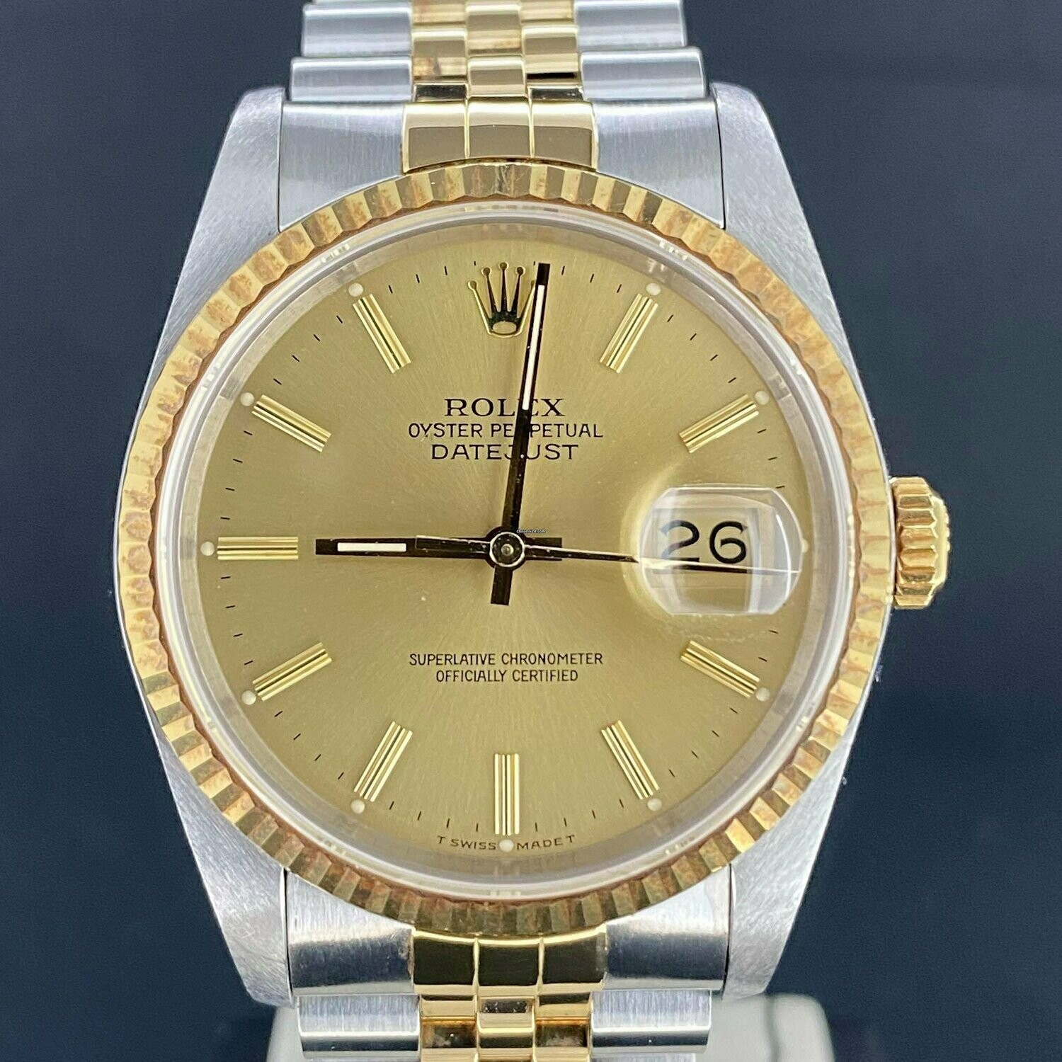 Rolex Datejust 36MM Yellow Gold/Steel Jubilee Fluted Gold Stick Dial B&P1989 Like New IMPECCABLE
