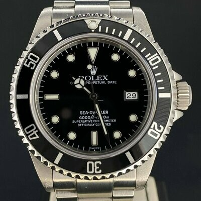Rolex Sea-Dweller 40MM Steel Watch Black Dial/Bezel 'A Series' 1999 B&P Unpolished Service 2019
