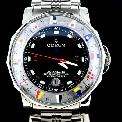 Corum Admirals Cup 43MM Black Dial Steel Date B&P2004 Mint Condition