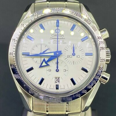 Omega Speedmaster Broad Arrow 42MM White/Blue Dial Steel Chronograph B&P Mint Condition