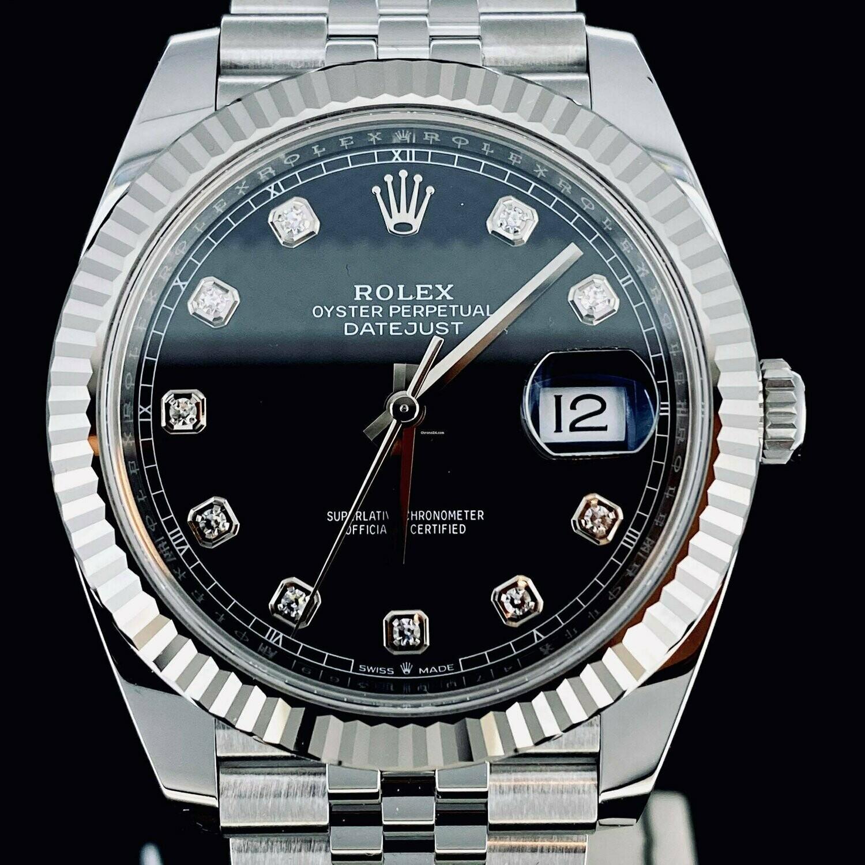 Rolex Datejust II 41MM Steel/White Gold Bezel Black Diamond Dial Jubilee Bracelet 2020